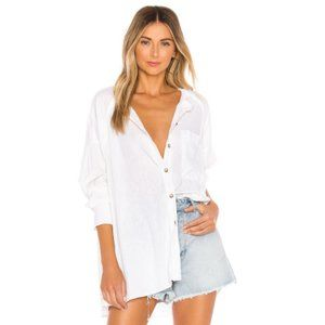 Free People Keep it Simple Button Down White M